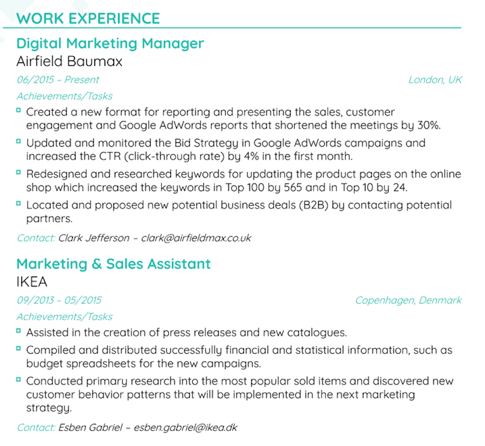 How to make a resume - Work experience