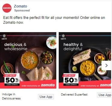 Zomato Marketing Strategy Facebook Ad