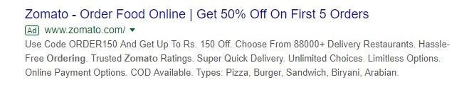 Zomato Marketing Strategy Google Search Ad