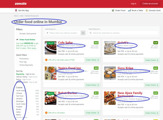 Zomato Marketing Strategy WebPage Keywords