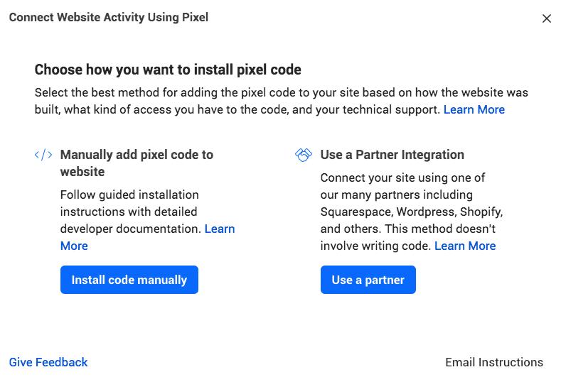 facebook pixel code-add pixel code to website