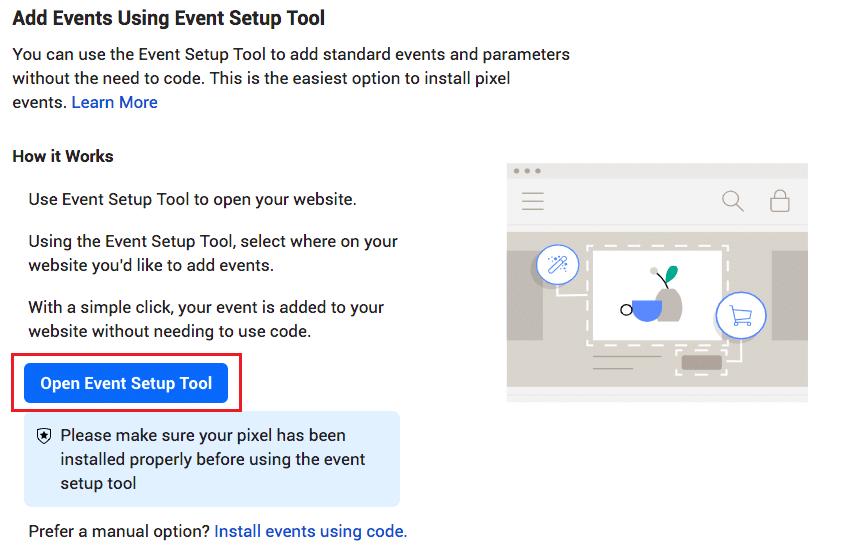 facebook pixel code - event setup tool