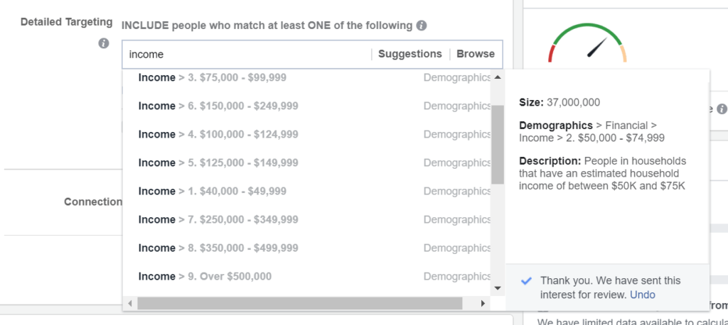 How to target audience on facebook - Income