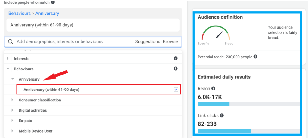 Target Audience on Facebook - targeting ads using behaviour