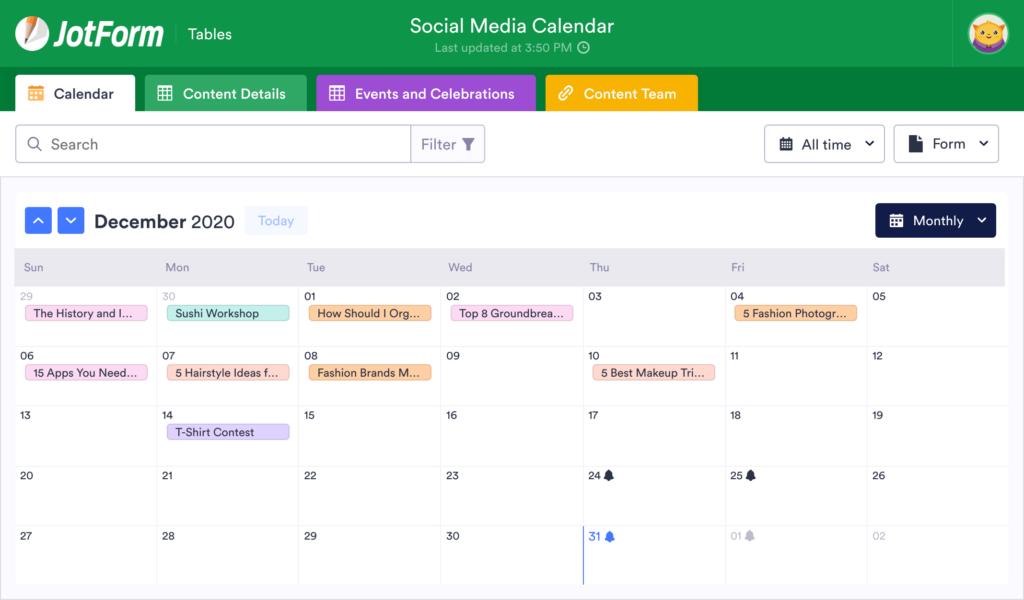 digital marketing strategies for startups - content calendar