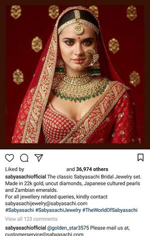 Indian Fashion Designers on Instagram Sabyasachi