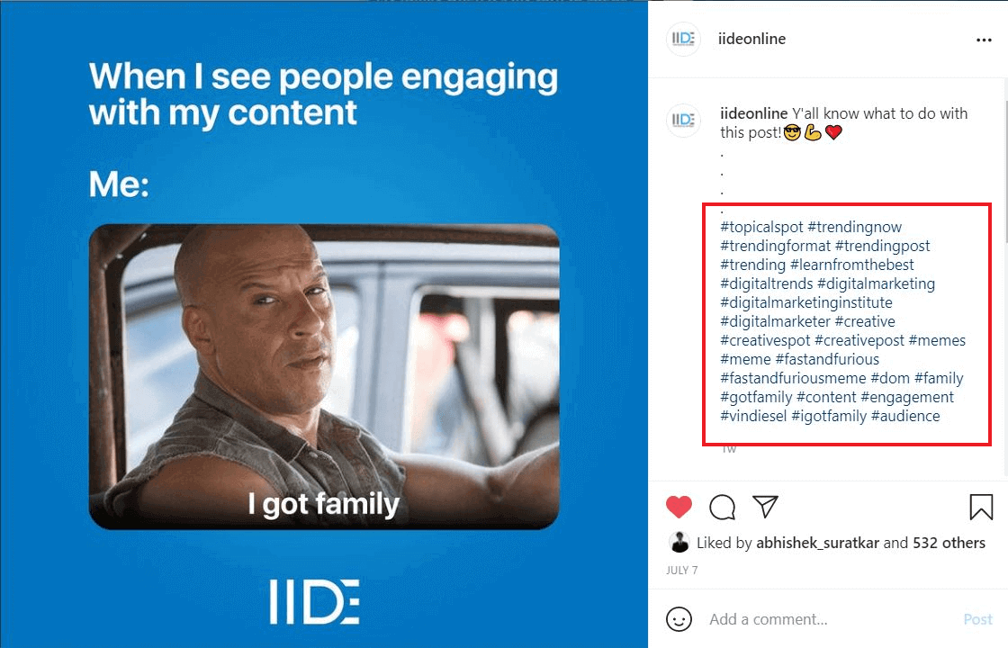hashtags for instagram - iide instagram page