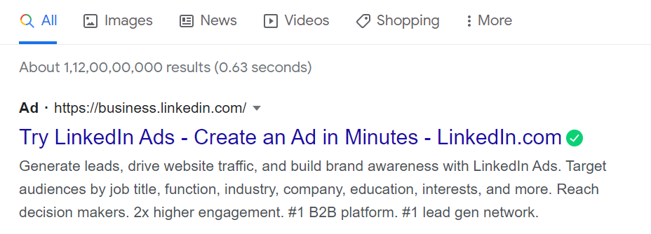 Benefits of search engine marketing - types of google ads - text ad example