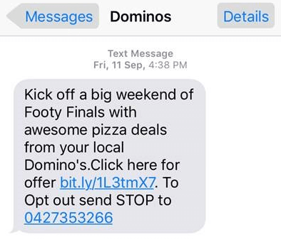 Domino's Marketing Strategy-SMS Marketing