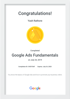 Online Digital Marketing Training Certificate - Google Ads Fundamentals