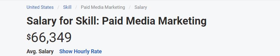 Digital Marketing Skills - Paid Media Specialist - Average Salary Global