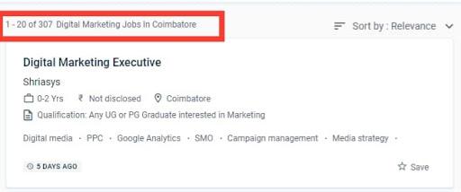 Digital marketing jobs in Coimbatore