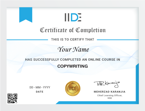 Copywriting Course Online - Certificate
