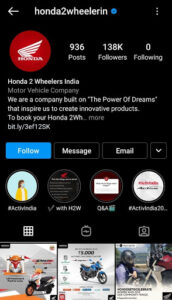 Honda Digital Marketing Strategy Case Study - Digital Presence of Honda - Instagram