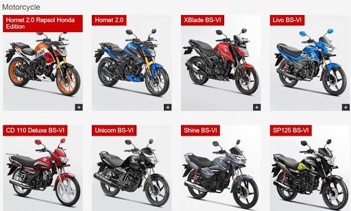 Honda Digital Marketing Strategy Case Study - Products Under Motorcycles