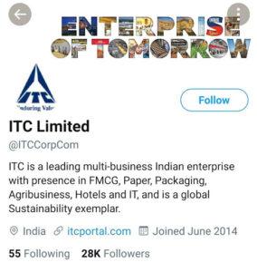 ITC Marketing Strategy and SWOT Analysis - ITC Digital Marketing Strategy - Twitter Profile