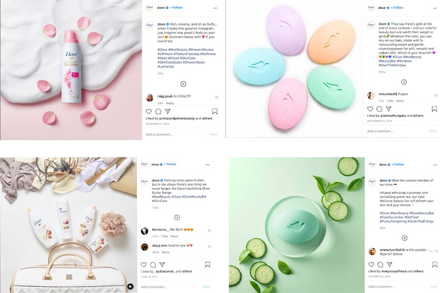 Marketing Strategies of Dove - How Dove Has Evolved - Aesthetics and Colour - Flatlays