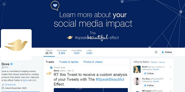 Marketing Strategies of Dove - Social Media Presence - Dove on Twitter