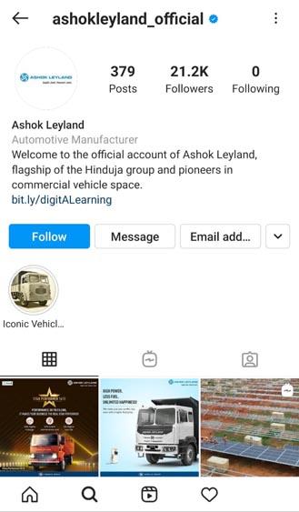 Marketing Strategy of Ashok Leyland - A Case Study - Social Media - Instagram