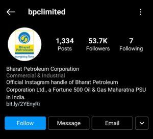 BPCL Marketing Case Study - Digital Presence - Social Media Presence - Instagram