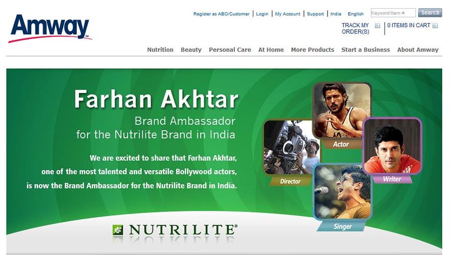 Marketing Strategy of Amway - A Case Study - Brand Ambassador - Farhan Akhtar