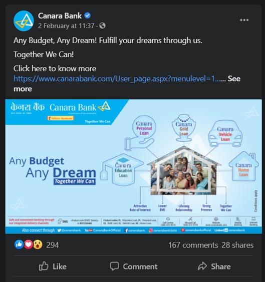 Marketing Strategy of Canara Bank - A Case Study - Digital Marketing Strategy - Social Media Presence - Facebook