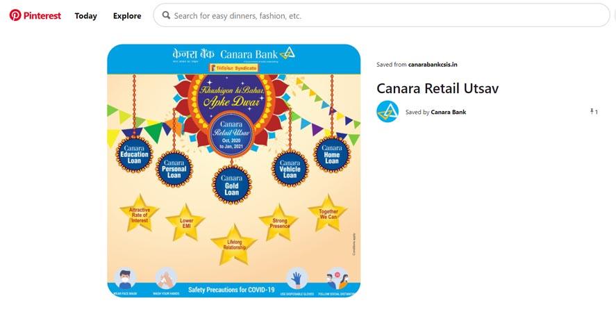 Marketing Strategy of Canara Bank - A Case Study - - Digital Marketing Strategy - Social Media Presence - Pinterest