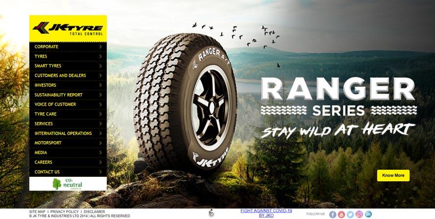Marketing Strategy of JK Tyre - A Case Study - Digital Marketing Presence - Website Overview