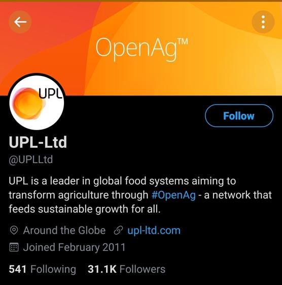 Marketing Strategy of UPL - A Case Study - Social Media Presence - Twitter