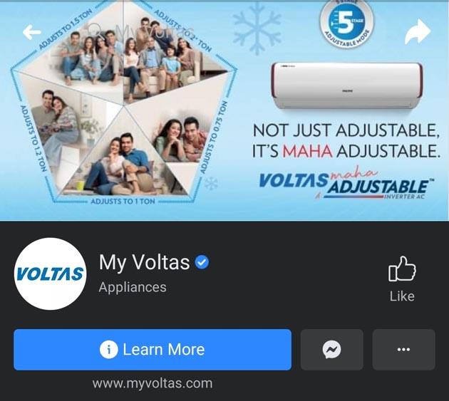 Voltas Marketing Strategy - A Case Study - Digital Marketing Strategy - Social Media Presence - Facebook