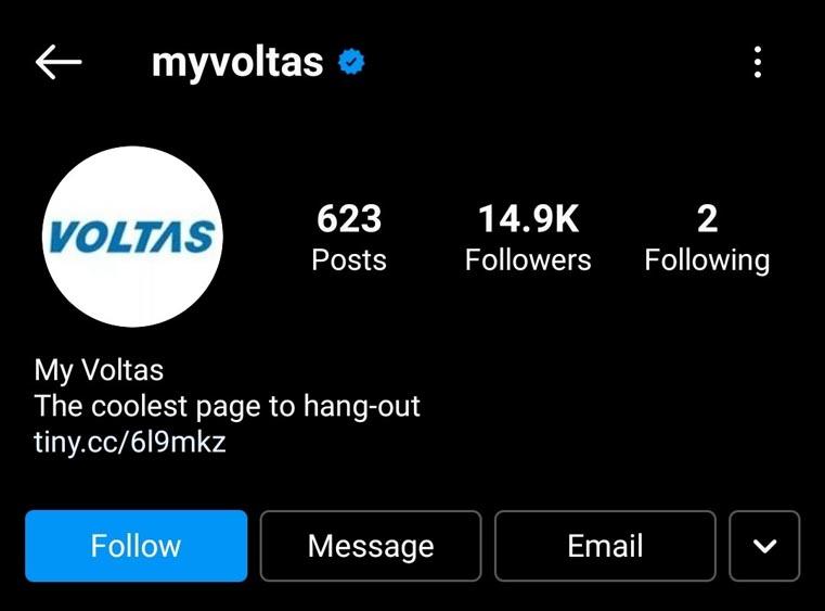 Voltas Marketing Strategy - A Case Study - Digital Marketing Strategy - Social Media Presence - Instagram