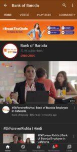 Bank of Baroda Marketing Case Study- Digital Presence- YouTube | IIDE
