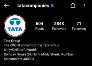 Tata Group Marketing Strategy Case Study- Social Media Presence- Instagram | IIDE