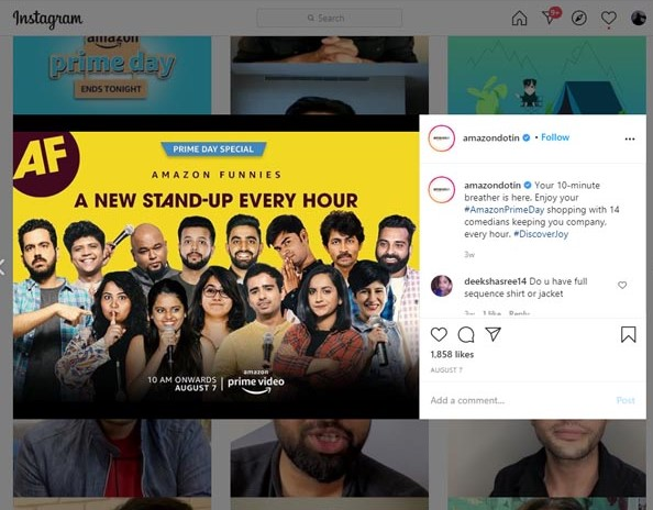 Marketing Strategy of Amazon - A Case Study - Digital Marketing Strategy - Social Media Strategy - Instagram - Prime Day Promotions