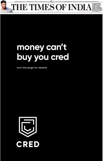 Marketing Strategy of Cred - A Case Study - Newspaper Advertisement