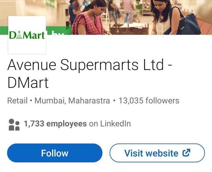 Marketing Strategy of DMart - A Case Study - Digital Presence - Linkedin