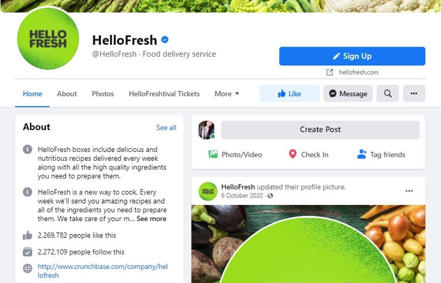 Marketing Strategy of HelloFresh - A Case Study - Social Media Strategy - Facebook