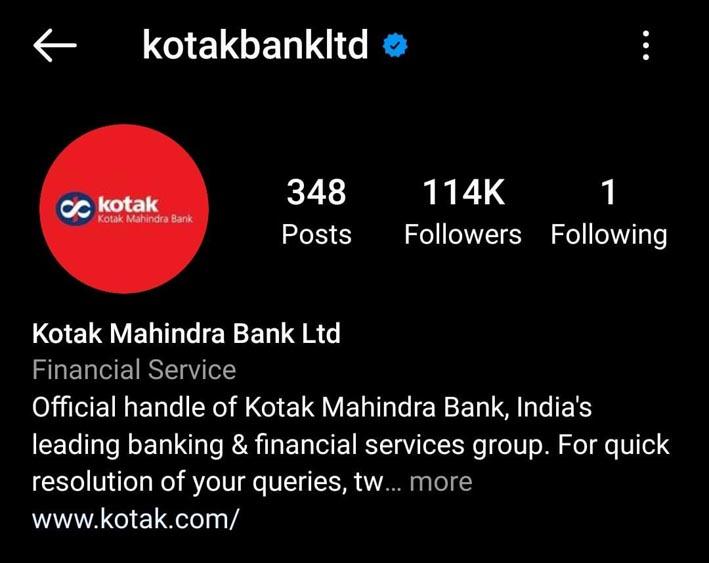 Marketing Strategy of Kotak Mahindra Bank - A Case Study - Digital Presence - Social Media - Instagram