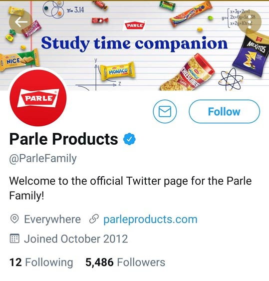 Marketing Strategy of Parle - A Case Study - Digital Presence - Twitter