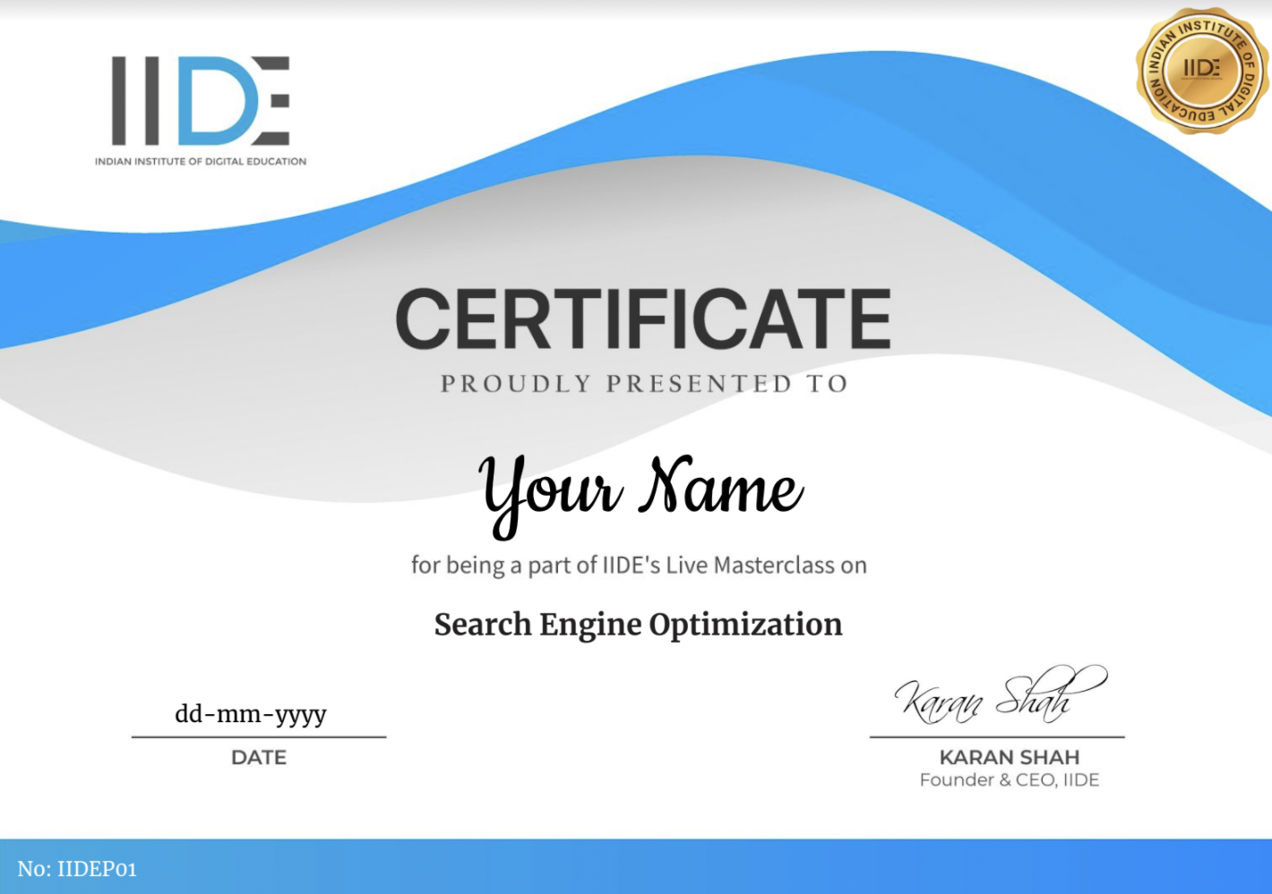 Free Live Online MasterClass - Certificate