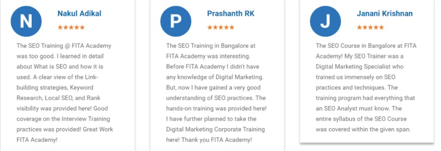 seo courses in bangalore - FITA student reviews