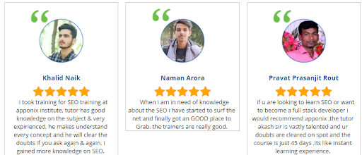 seo courses in bangalore - apponix student reviews