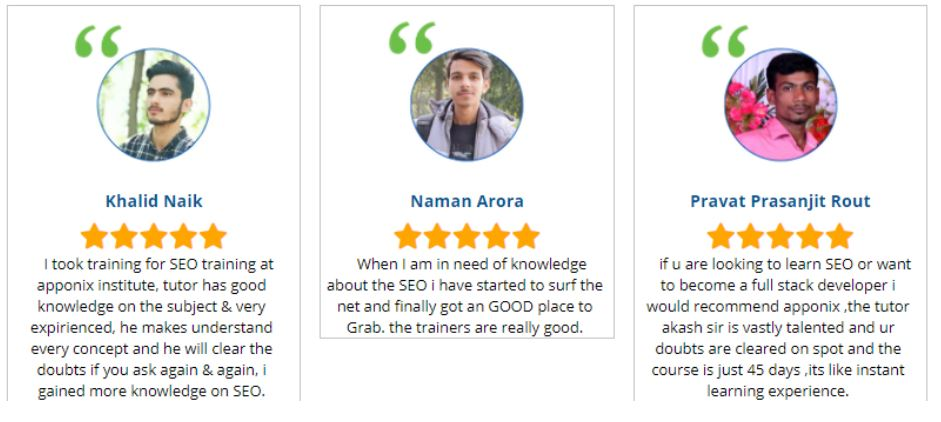 seo courses in hyderabad - Apponix Technologies student reviews