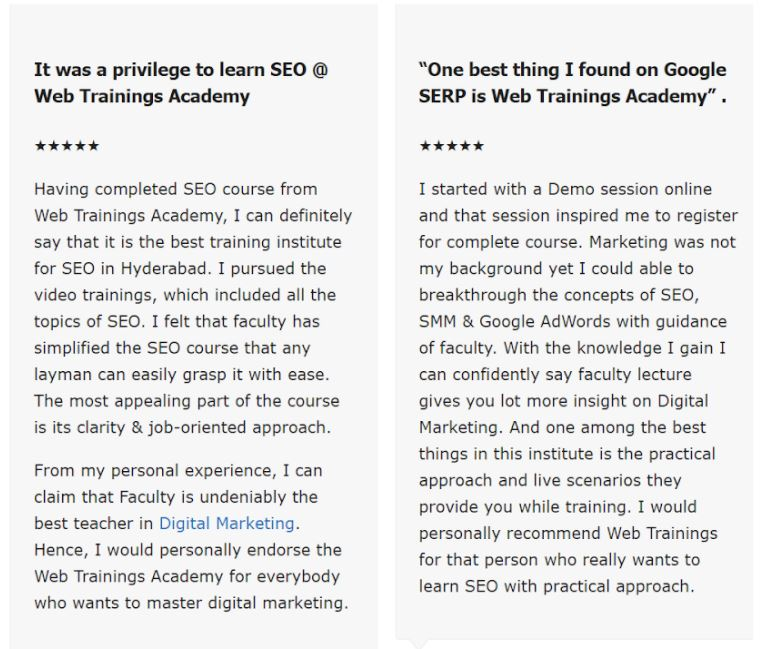 seo courses in hyderabad - web trainings student reviews