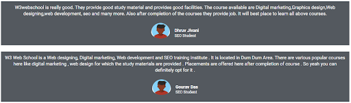 seo courses in kolkata - W3 web school student reviews