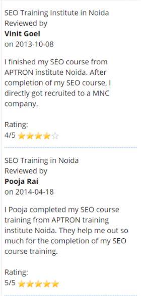 seo courses in noida - aptron student reviews