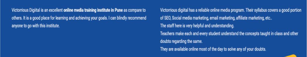 seo courses in pune - Victorrious Digiital student reviews