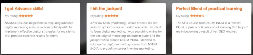 seo courses in pune - nsdm student reviews