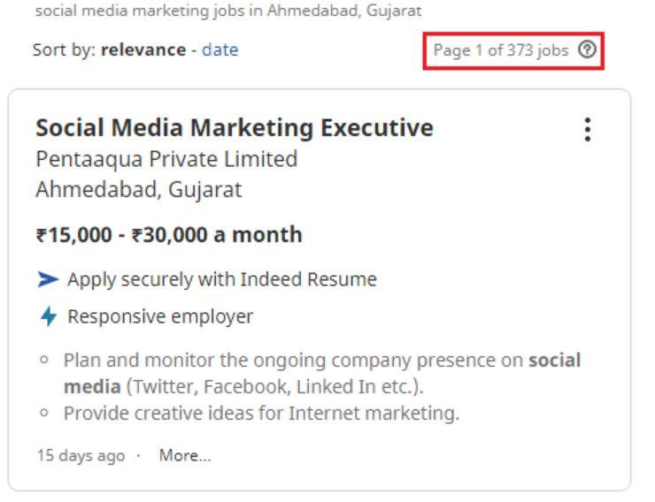social media marketing courses in ahmedabad - job statistics