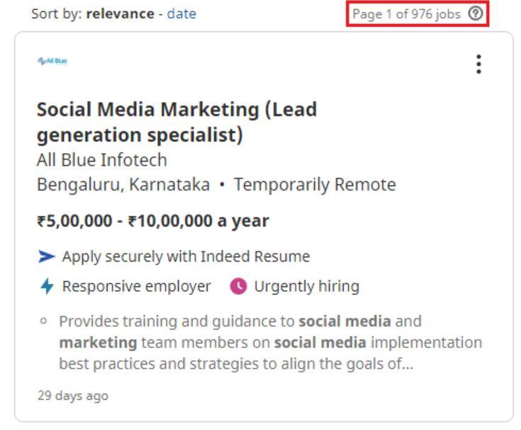 social media marketing courses in bangalore - job statistics